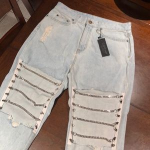 NEW with Tags CARMAR Hermia chain knee denim jeans